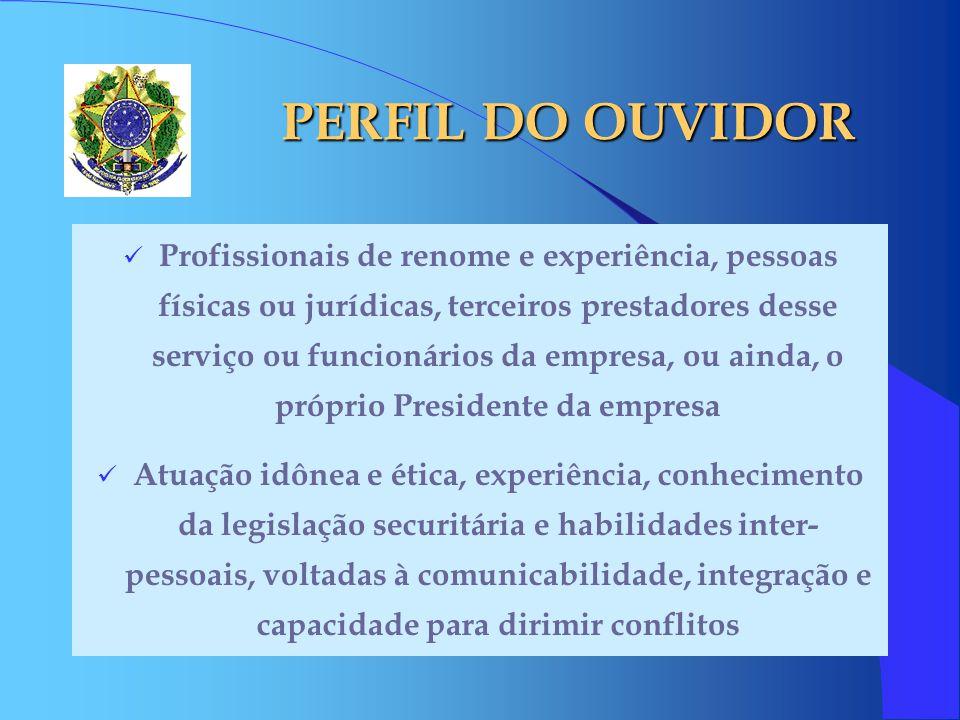 PERFIL DO OUVIDOR Profissionais de renome e experiência, pessoas físicas ou jurídicas, terceiros prestadores desse serviço ou funcionários da empresa,