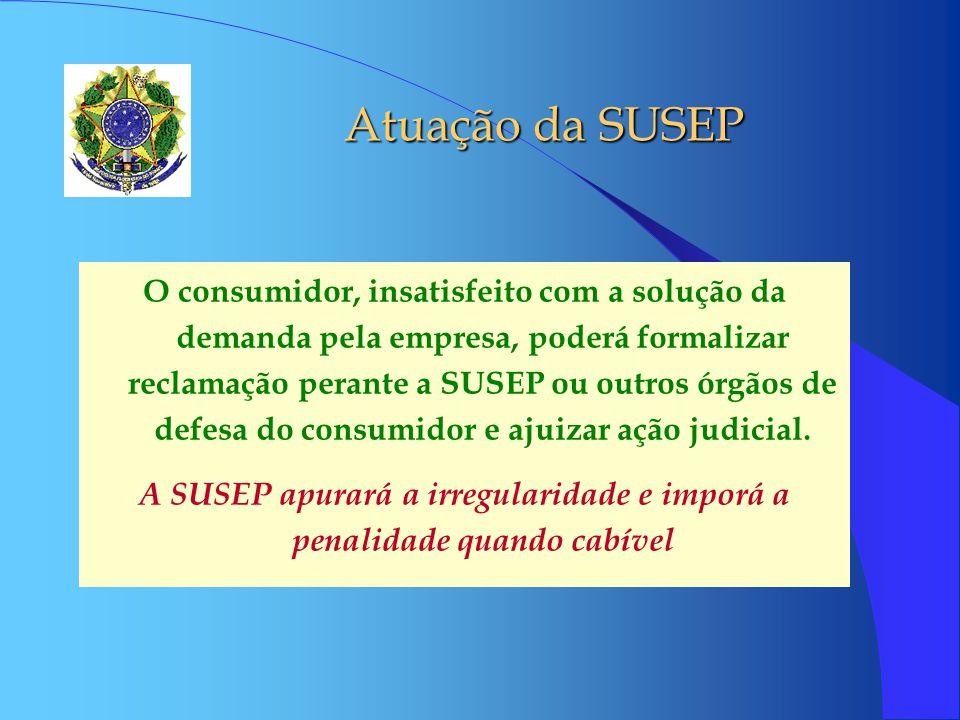 Atuação da SUSEP O consumidor, insatisfeito com a solução da demanda pela empresa, poderá formalizar reclamação perante a SUSEP ou outros órgãos de de
