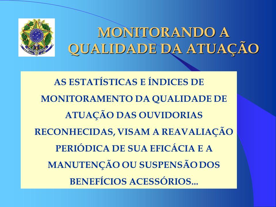 MONITORANDO A QUALIDADE DA ATUAÇÃO AS ESTATÍSTICAS E ÍNDICES DE MONITORAMENTO DA QUALIDADE DE ATUAÇÃO DAS OUVIDORIAS RECONHECIDAS, VISAM A REAVALIAÇÃO PERIÓDICA DE SUA EFICÁCIA E A MANUTENÇÃO OU SUSPENSÃO DOS BENEFÍCIOS ACESSÓRIOS...
