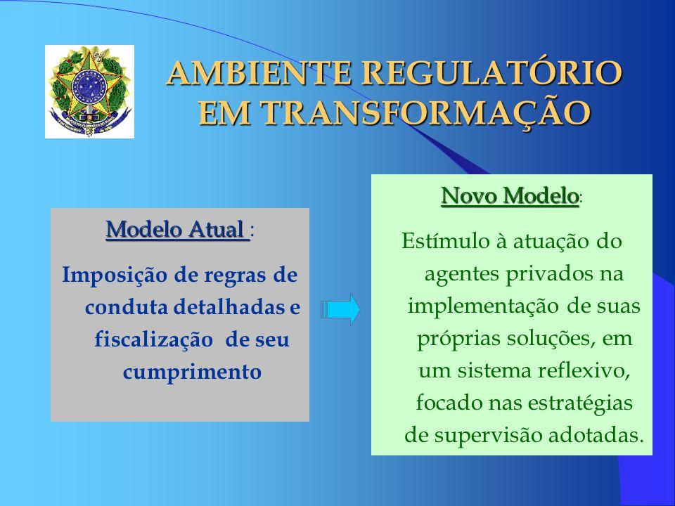 AMBIENTE REGULATÓRIO EM TRANSFORMAÇÃO Novo Modelo Novo Modelo : Estímulo à atuação do agentes privados na implementação de suas próprias soluções, em um sistema reflexivo, focado nas estratégias de supervisão adotadas.