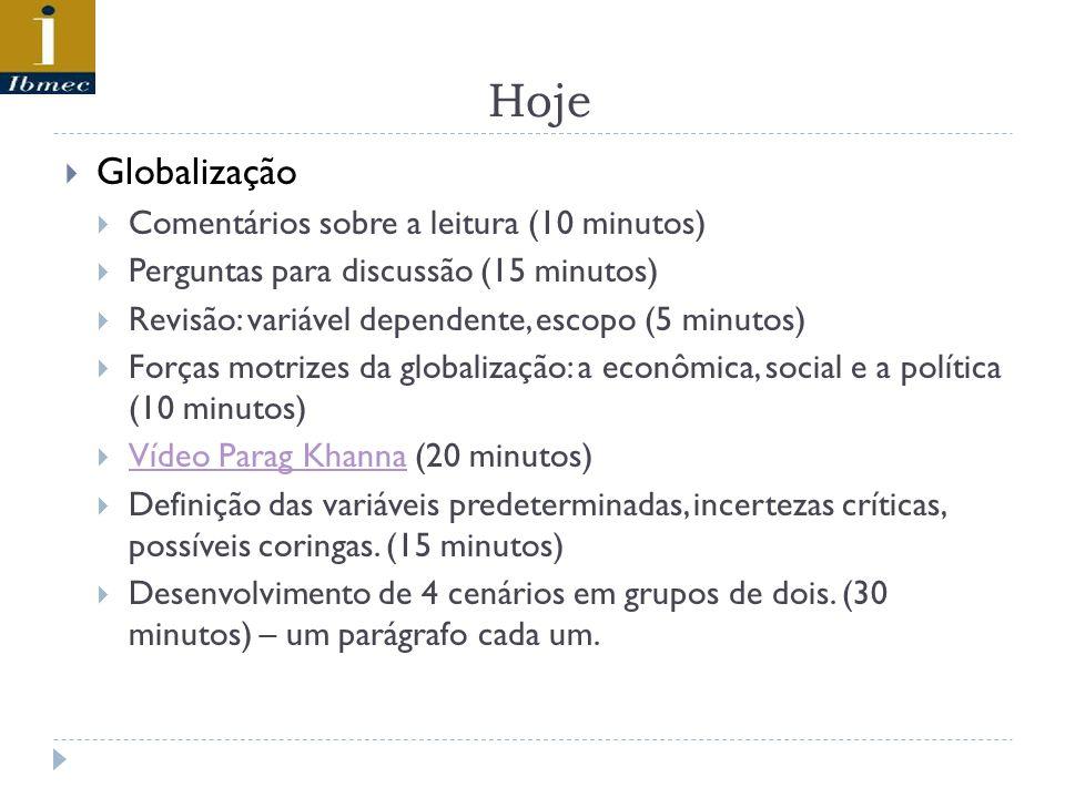 Hoje Globalização Comentários sobre a leitura (10 minutos) Perguntas para discussão (15 minutos) Revisão: variável dependente, escopo (5 minutos) Forças motrizes da globalização: a econômica, social e a política (10 minutos) Vídeo Parag Khanna (20 minutos) Vídeo Parag Khanna Definição das variáveis predeterminadas, incertezas críticas, possíveis coringas.