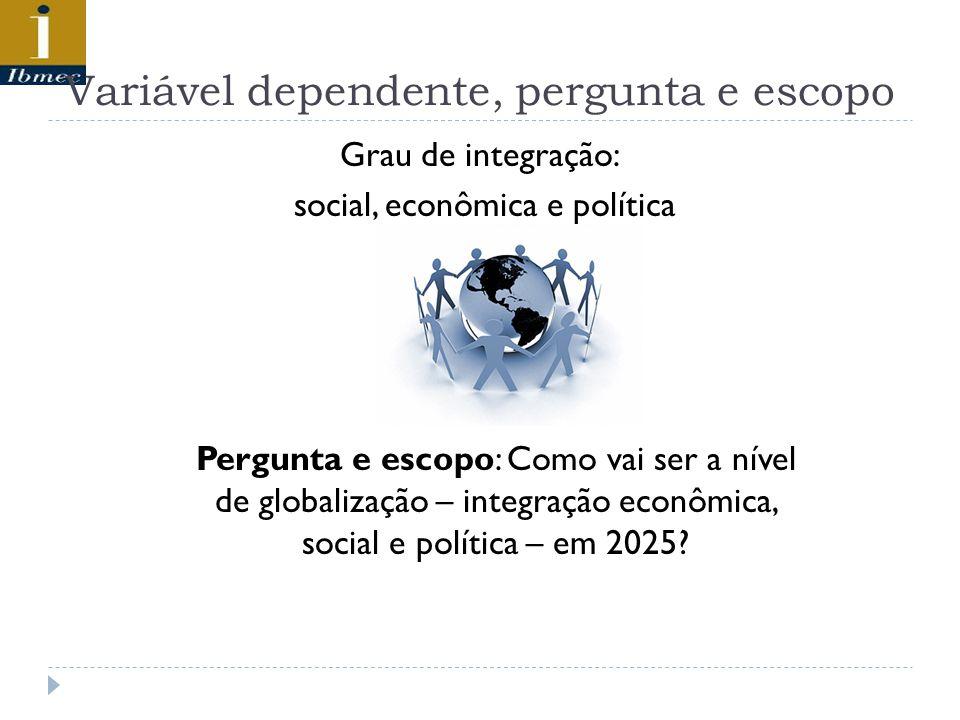 Variável dependente, pergunta e escopo Grau de integração: social, econômica e política Pergunta e escopo: Como vai ser a nível de globalização – integração econômica, social e política – em 2025?