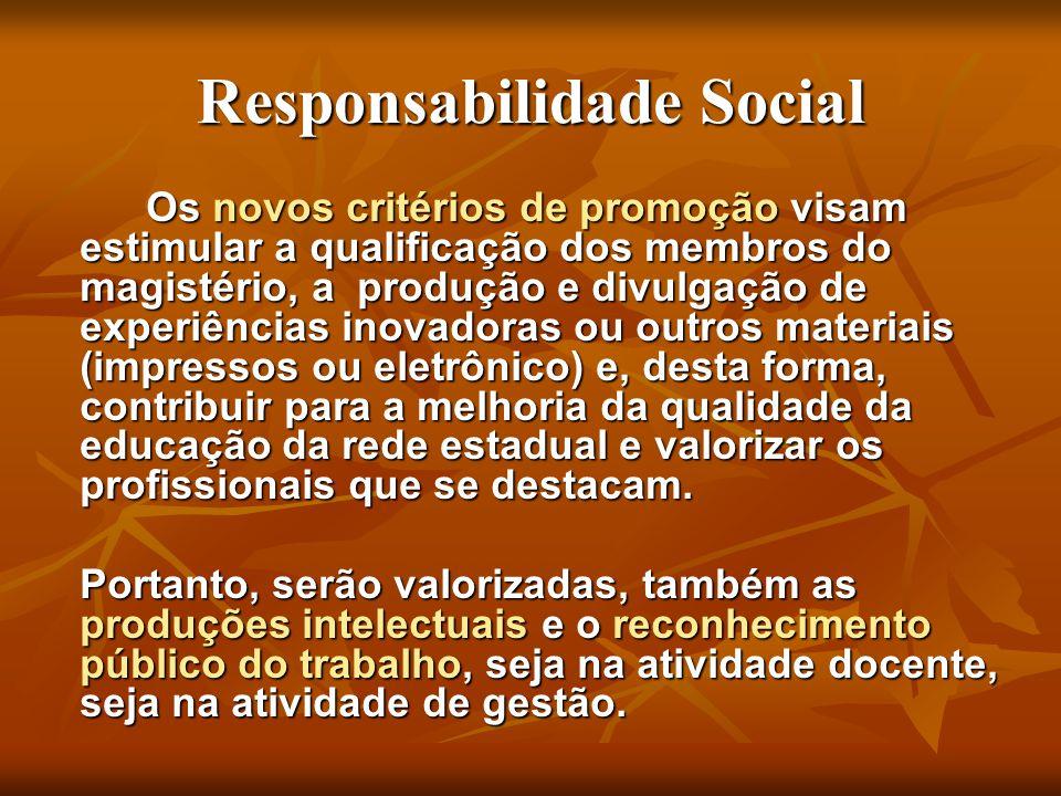 Responsabilidade Social Os novos critérios de promoção visam estimular a qualificação dos membros do magistério, a produção e divulgação de experiênci