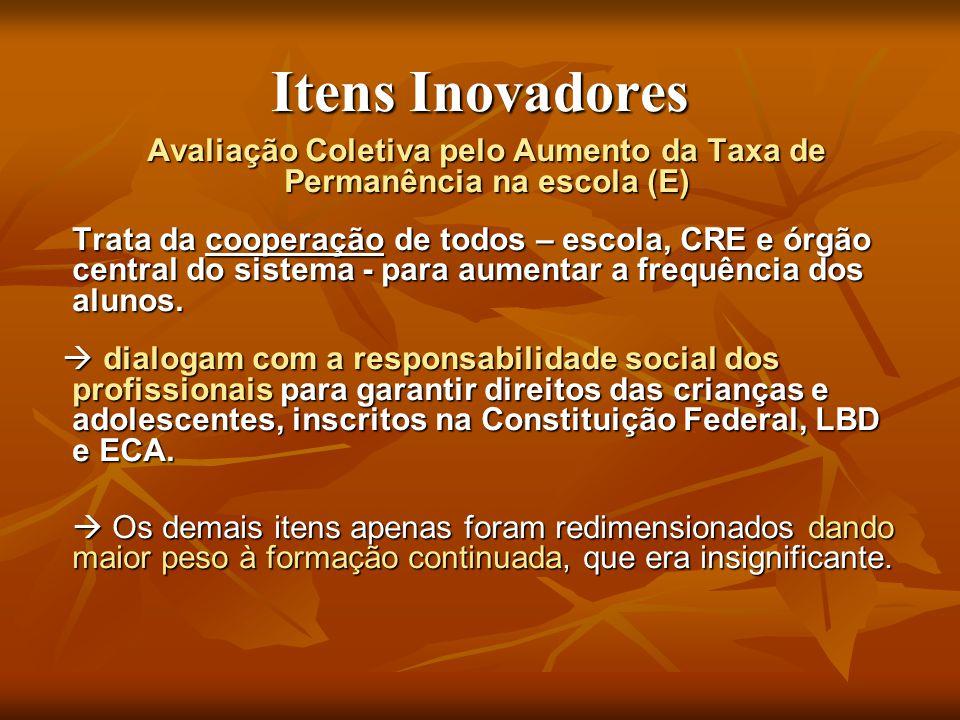 Itens Inovadores Avaliação Coletiva pelo Aumento da Taxa de Permanência na escola (E) Trata da cooperação de todos – escola, CRE e órgão central do si