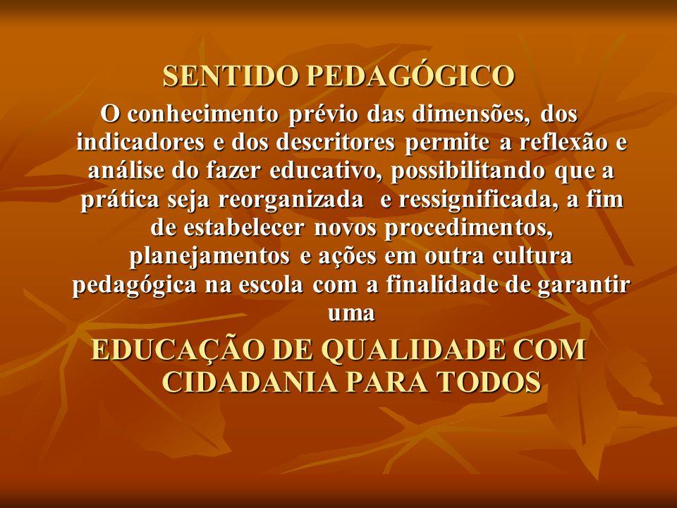 SENTIDO PEDAGÓGICO O conhecimento prévio das dimensões, dos indicadores e dos descritores permite a reflexão e análise do fazer educativo, possibilita