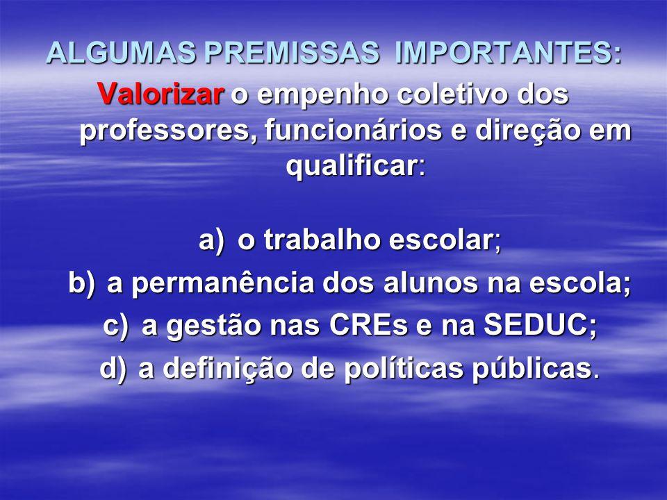 ALGUMAS PREMISSAS IMPORTANTES: ALGUMAS PREMISSAS IMPORTANTES: Valorizar o empenho coletivo dos professores, funcionários e direção em qualificar: a)o