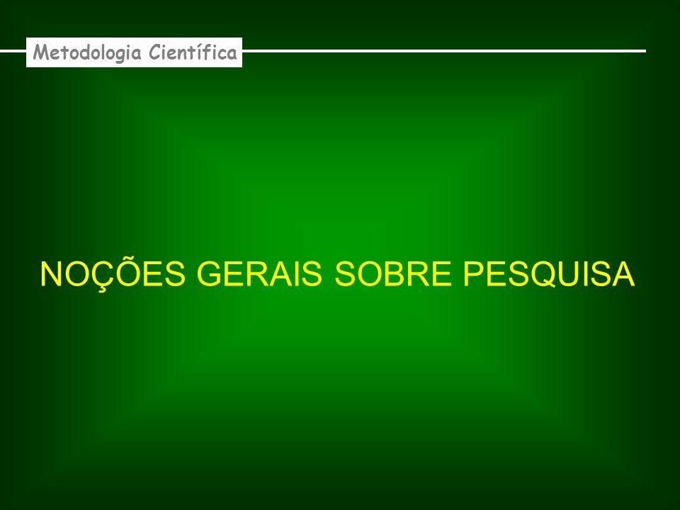 NOÇÕES GERAIS SOBRE PESQUISA Metodologia Científica Pesquisar : Buscar com zelo e determinação.
