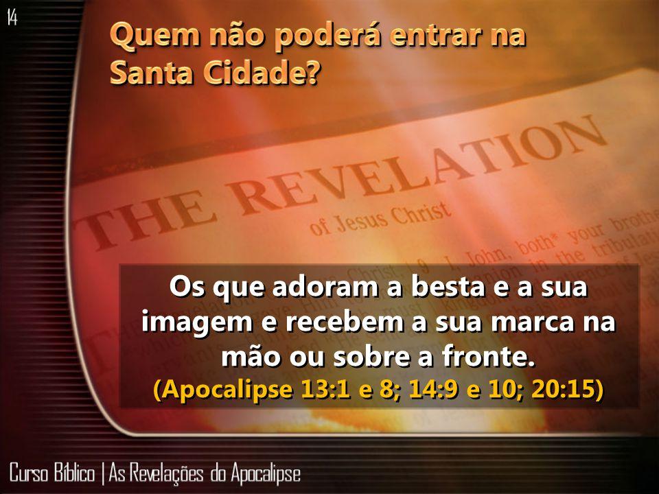 Os que adoram a besta e a sua imagem e recebem a sua marca na mão ou sobre a fronte. (Apocalipse 13:1 e 8; 14:9 e 10; 20:15)