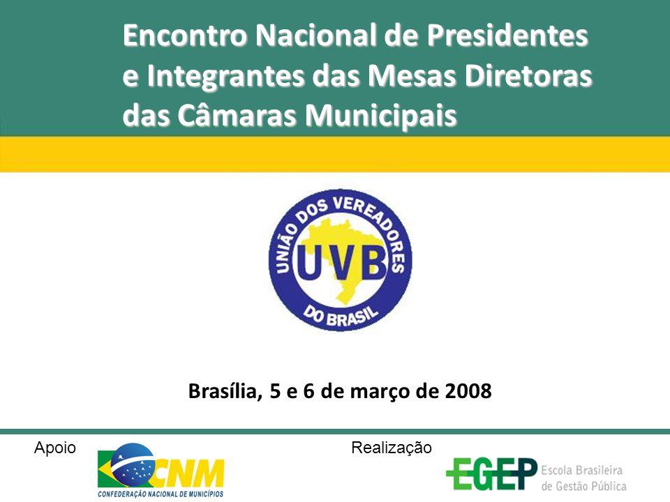 Encontro Nacional de Presidentes e Integrantes das Mesas Diretoras das Câmaras Municipais Brasília, 5 e 6 de março de 2008 Apoio Realização
