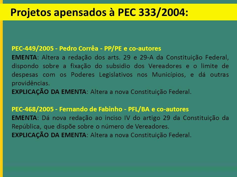 Projetos apensados à PEC 333/2004: PEC-449/2005 - Pedro Corrêa - PP/PE e co-autores EMENTA: Altera a redação dos arts. 29 e 29-A da Constituição Feder