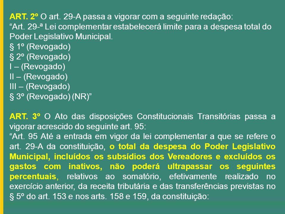 ART. 2º O art. 29-A passa a vigorar com a seguinte redação: Art. 29-ª Lei complementar estabelecerá limite para a despesa total do Poder Legislativo M
