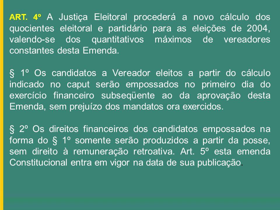 ART. 4º A Justiça Eleitoral procederá a novo cálculo dos quocientes eleitoral e partidário para as eleições de 2004, valendo-se dos quantitativos máxi