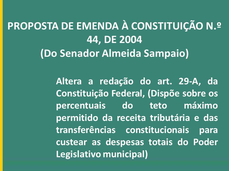 PROPOSTA DE EMENDA À CONSTITUIÇÃO N.º 44, DE 2004 (Do Senador Almeida Sampaio) Altera a redação do art. 29-A, da Constituição Federal, (Dispõe sobre o