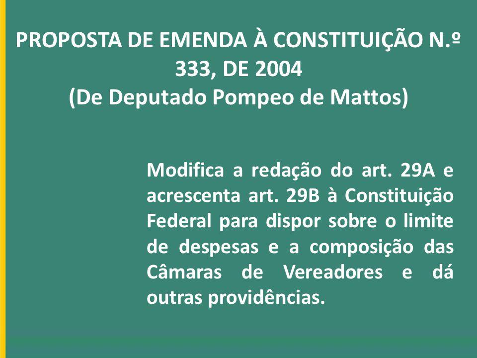 PROPOSTA DE EMENDA À CONSTITUIÇÃO N.º 333, DE 2004 (De Deputado Pompeo de Mattos) Modifica a redação do art. 29A e acrescenta art. 29B à Constituição