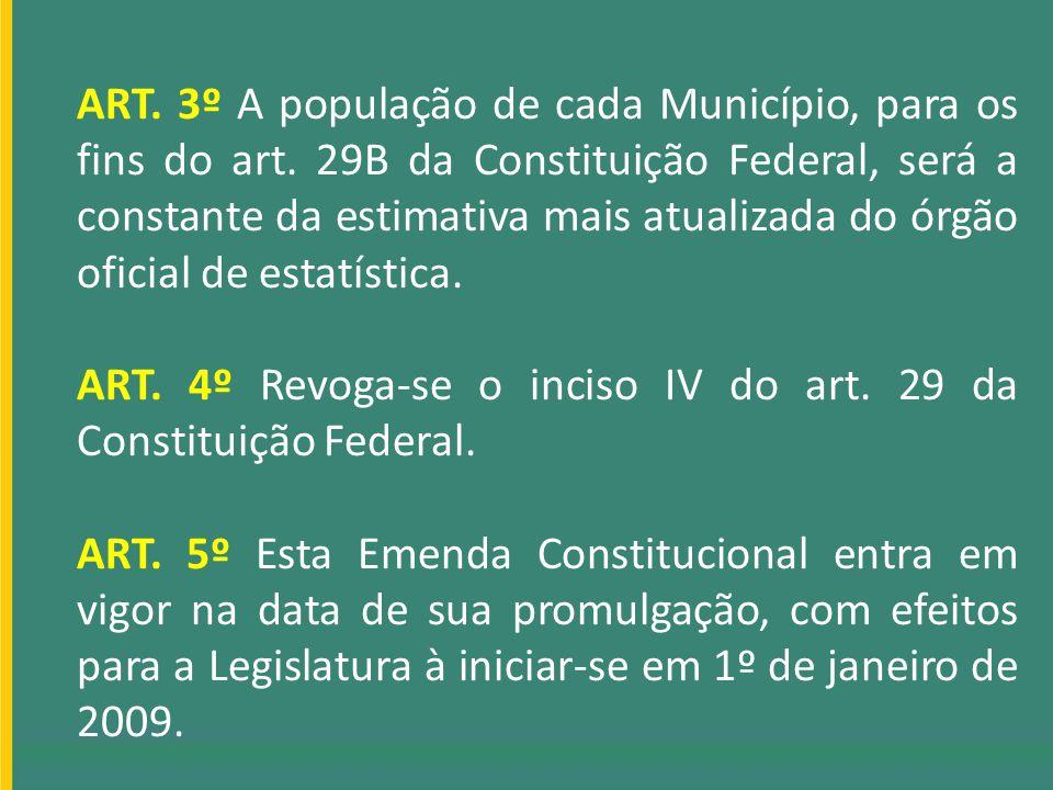 ART. 3º A população de cada Município, para os fins do art. 29B da Constituição Federal, será a constante da estimativa mais atualizada do órgão ofici