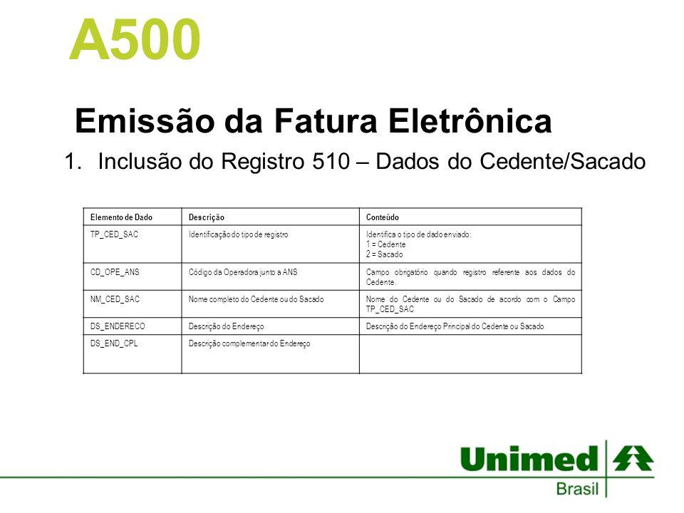 Emissão da Fatura Eletrônica 1.Inclusão do Registro 510 – Dados do Cedente/Sacado A500 Elemento de DadoDescriçãoConteúdo TP_CED_SACIdentificação do ti