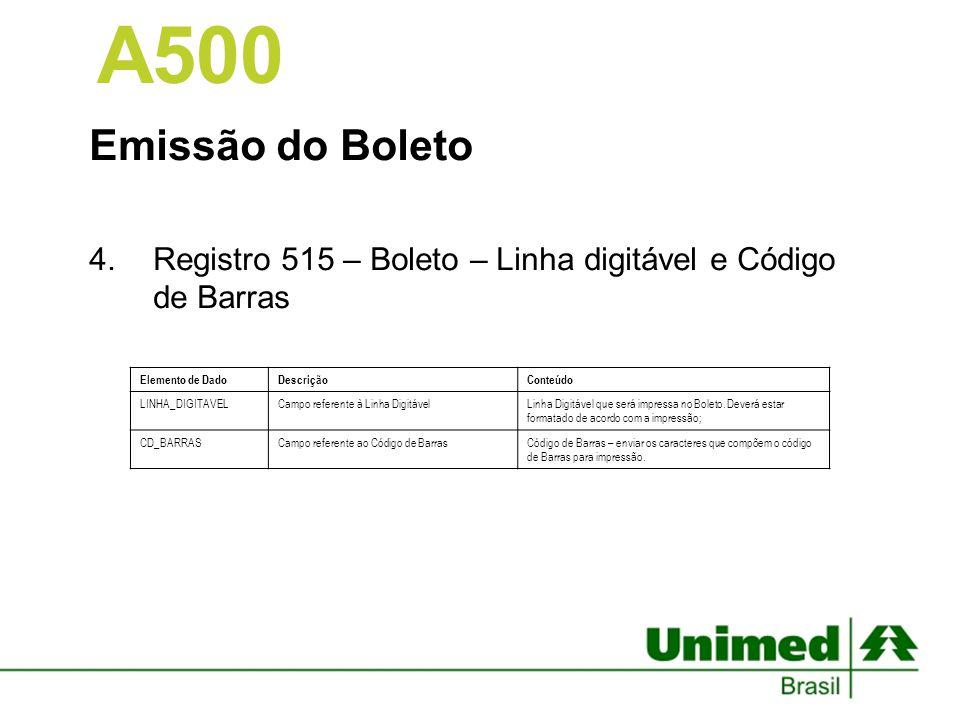 Emissão do Boleto 4.Registro 515 – Boleto – Linha digitável e Código de Barras A500 Elemento de DadoDescriçãoConteúdo LINHA_DIGITAVELCampo referente à