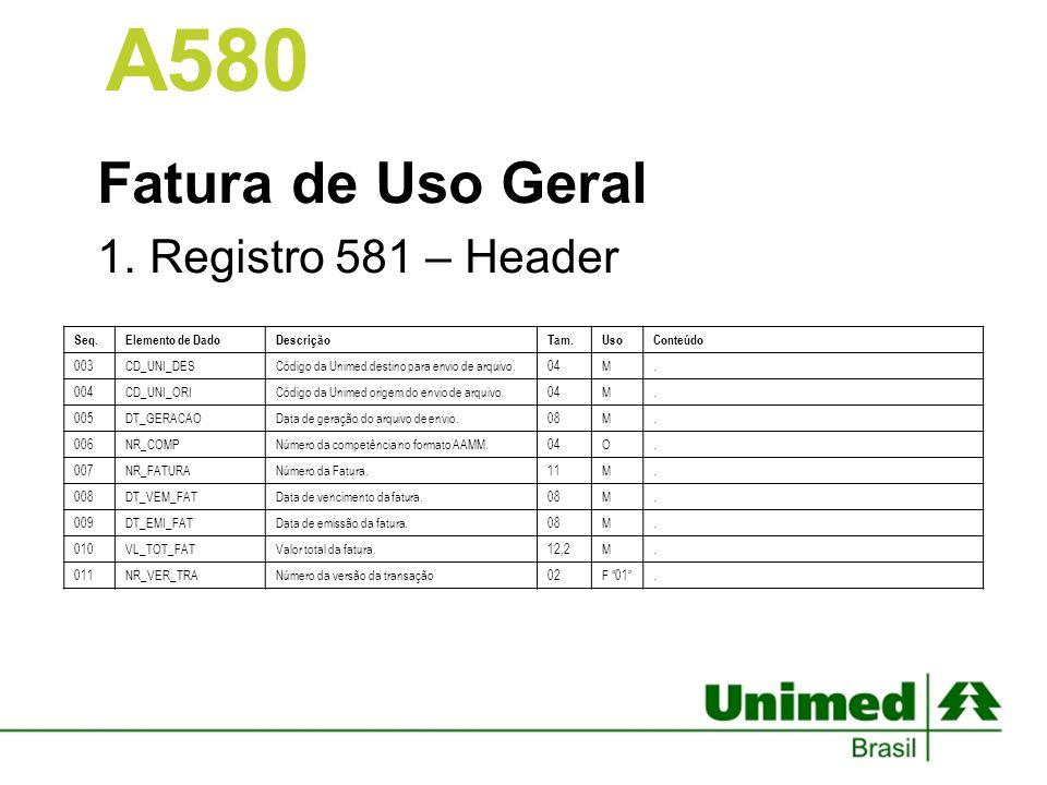 Fatura de Uso Geral 1.Registro 581 – Header A580 Seq.Elemento de DadoDescriçãoTam.UsoConteúdo 003CD_UNI_DESCódigo da Unimed destino para envio de arqu