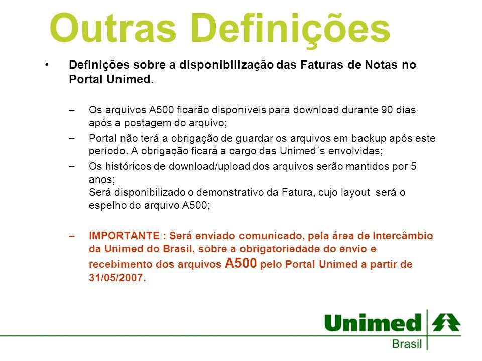 Definições sobre a disponibilização das Faturas de Notas no Portal Unimed. –Os arquivos A500 ficarão disponíveis para download durante 90 dias após a