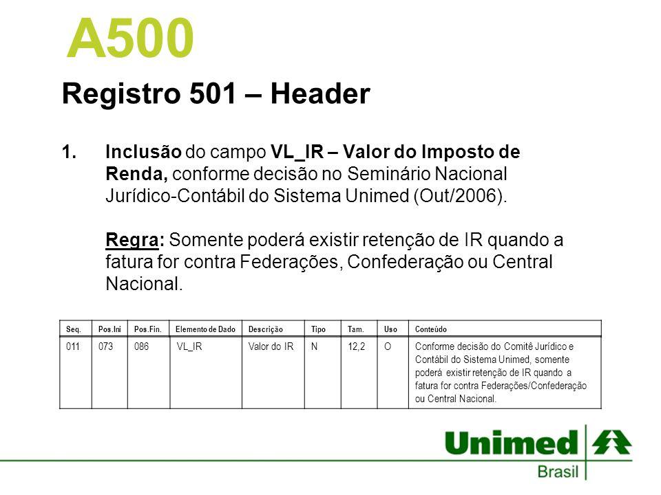 Registro 502 – Nota de Cobrança 1.Alteração do campo TP_SAIDA_CONS_SADT – Tipo de Saída para atendimentos de Consulta e SADT – TISS.