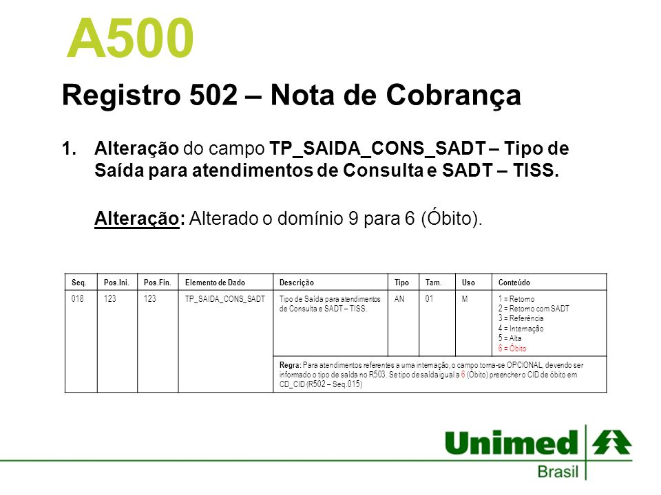 Registro 502 – Nota de Cobrança 1.Alteração do campo TP_SAIDA_CONS_SADT – Tipo de Saída para atendimentos de Consulta e SADT – TISS. Alteração: Altera