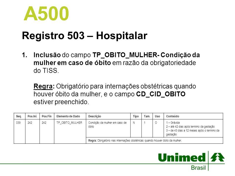 Registro 503 – Hospitalar 1.Inclusão do campo TP_OBITO_MULHER- Condição da mulher em caso de óbito em razão da obrigatoriedade do TISS. Regra: Obrigat