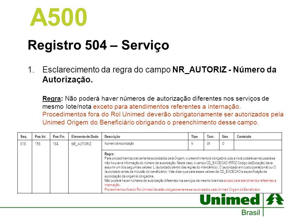 Registro 504 – Serviço 1.Esclarecimento da regra do campo NR_AUTORIZ - Número da Autorização. Regra: Não poderá haver números de autorização diferente