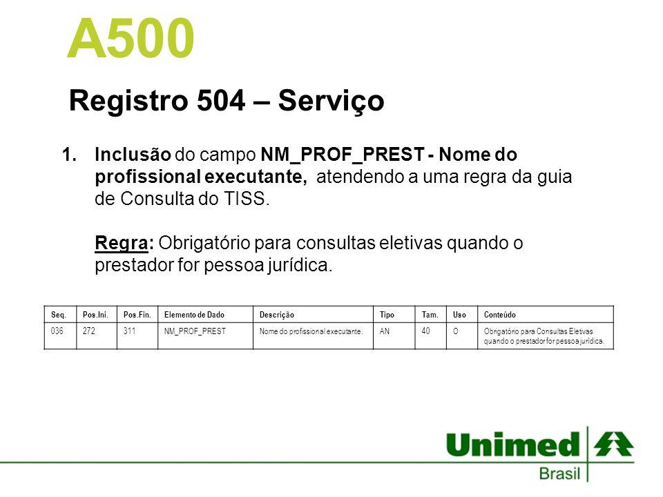 Registro 504 – Serviço 1.Inclusão do campo NM_PROF_PREST - Nome do profissional executante, atendendo a uma regra da guia de Consulta do TISS. Regra: