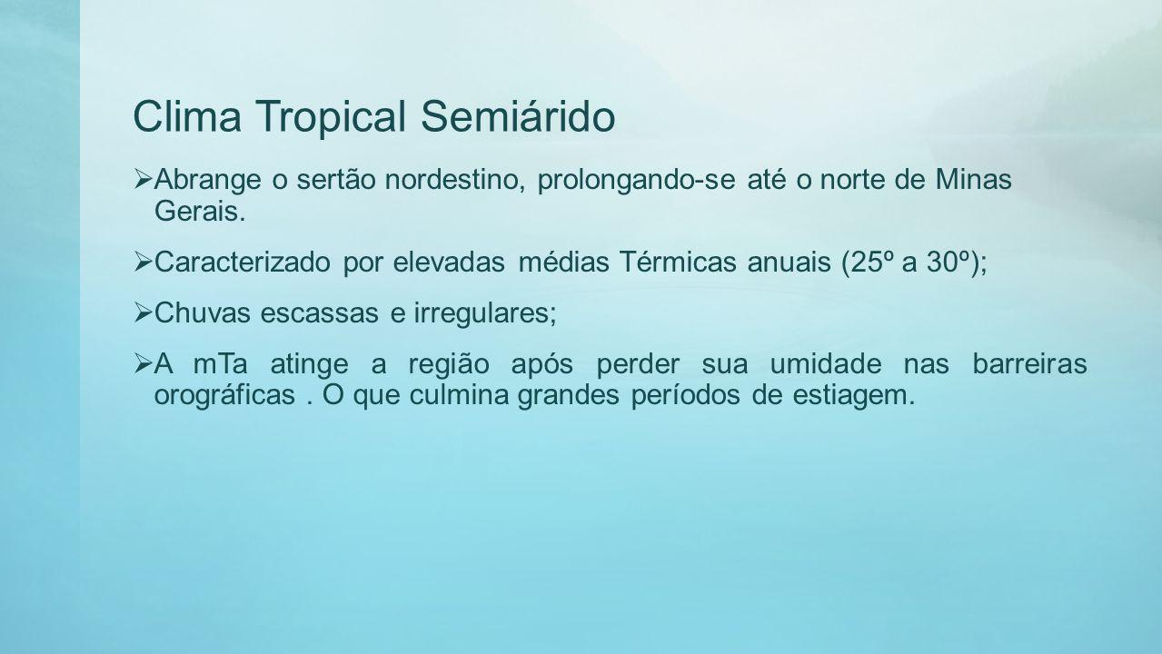 Clima Tropical Semiárido Abrange o sertão nordestino, prolongando-se até o norte de Minas Gerais. Caracterizado por elevadas médias Térmicas anuais (2