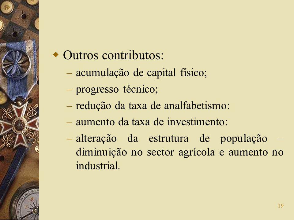 19 Outros contributos: – acumulação de capital físico; – progresso técnico; – redução da taxa de analfabetismo: – aumento da taxa de investimento: – a