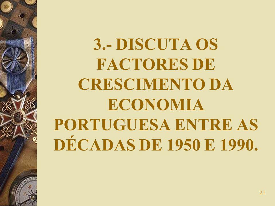 21 3.- DISCUTA OS FACTORES DE CRESCIMENTO DA ECONOMIA PORTUGUESA ENTRE AS DÉCADAS DE 1950 E 1990.
