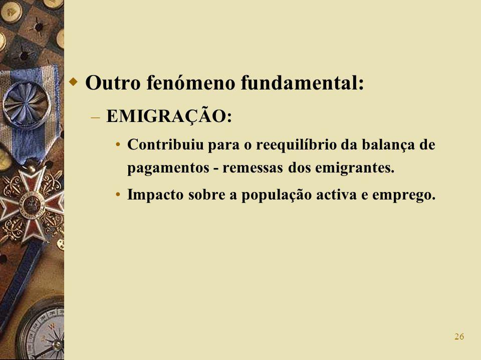 26 Outro fenómeno fundamental: – EMIGRAÇÃO: Contribuiu para o reequilíbrio da balança de pagamentos - remessas dos emigrantes. Impacto sobre a populaç