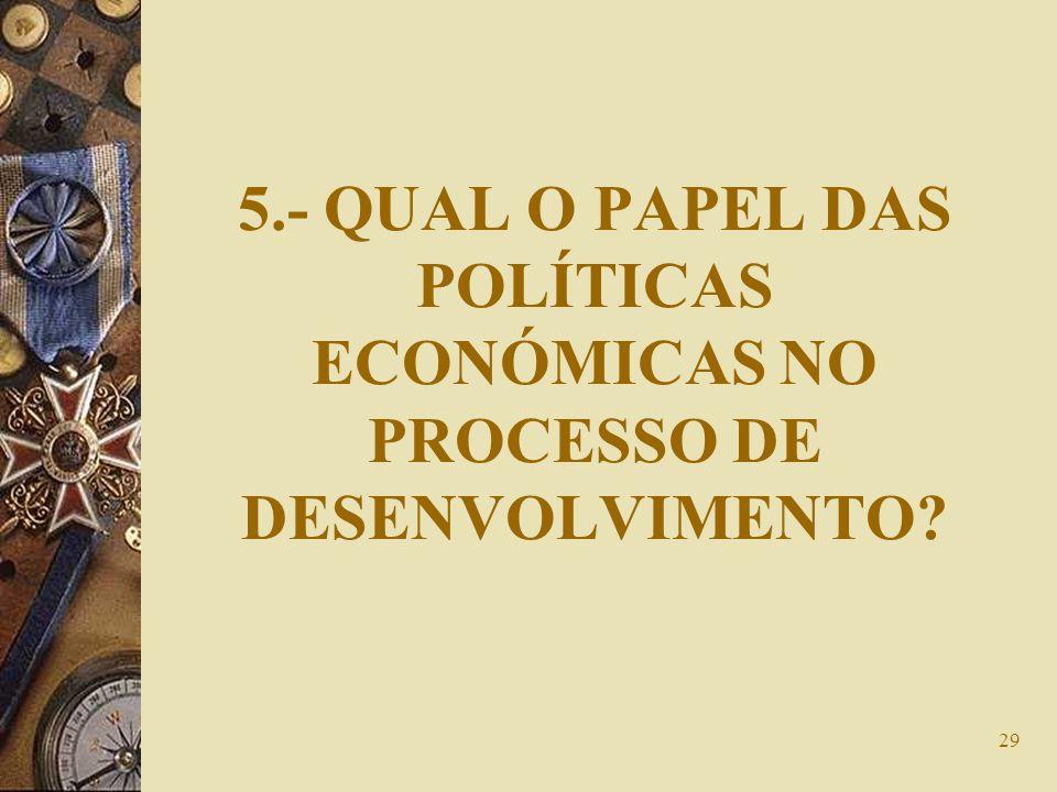 29 5.- QUAL O PAPEL DAS POLÍTICAS ECONÓMICAS NO PROCESSO DE DESENVOLVIMENTO?