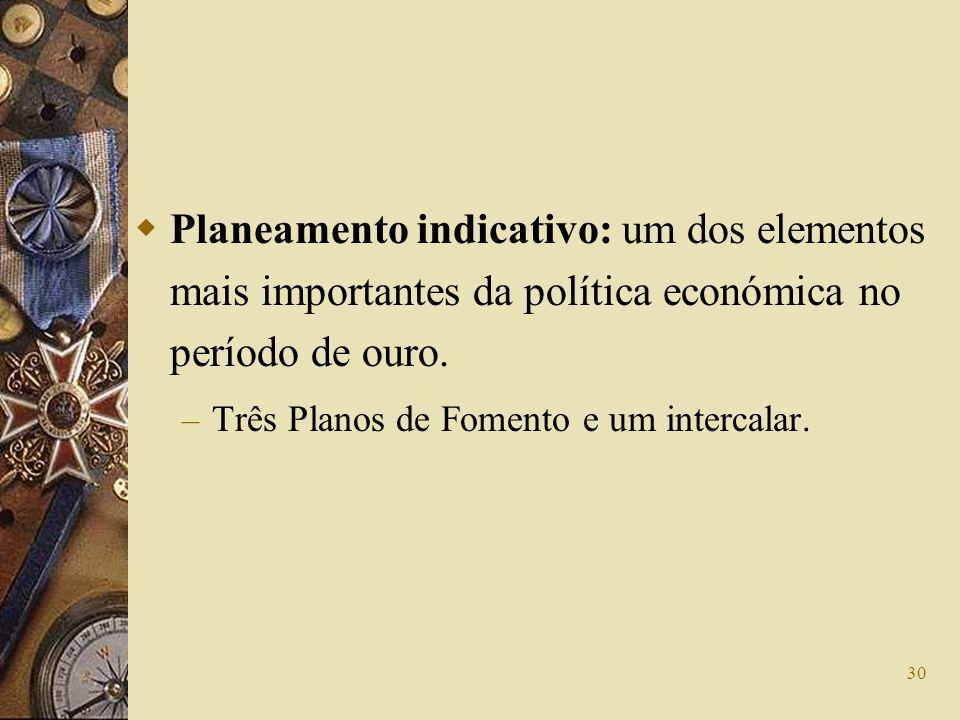 30 Planeamento indicativo: um dos elementos mais importantes da política económica no período de ouro. – Três Planos de Fomento e um intercalar.