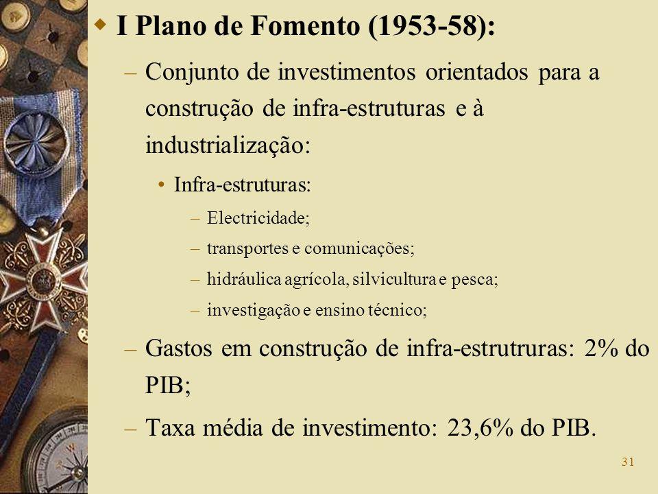 31 I Plano de Fomento (1953-58): – Conjunto de investimentos orientados para a construção de infra-estruturas e à industrialização: Infra-estruturas: