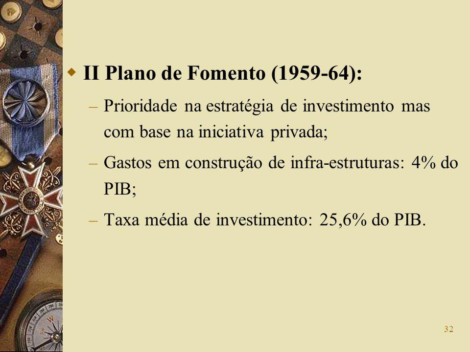 32 II Plano de Fomento (1959-64): – Prioridade na estratégia de investimento mas com base na iniciativa privada; – Gastos em construção de infra-estru