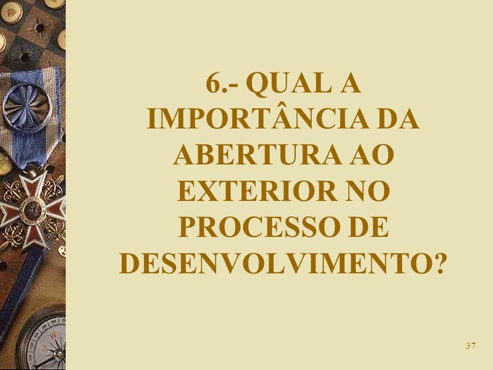 37 6.- QUAL A IMPORTÂNCIA DA ABERTURA AO EXTERIOR NO PROCESSO DE DESENVOLVIMENTO?