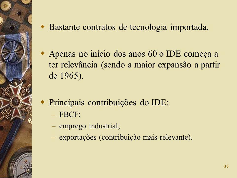 39 Bastante contratos de tecnologia importada. Apenas no início dos anos 60 o IDE começa a ter relevância (sendo a maior expansão a partir de 1965). P