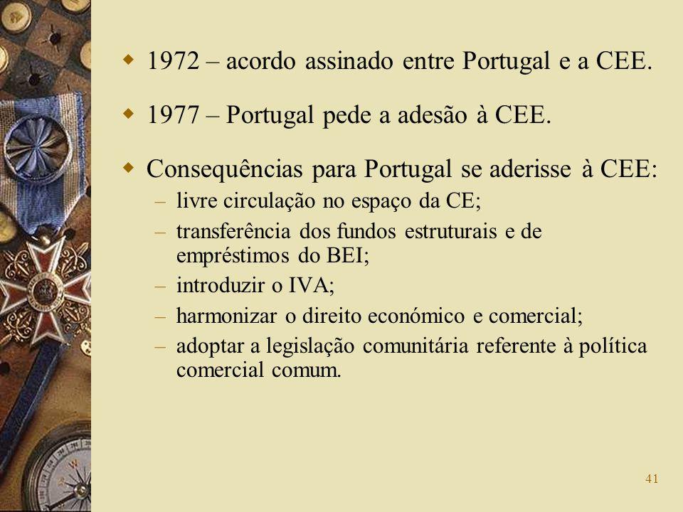 41 1972 – acordo assinado entre Portugal e a CEE. 1977 – Portugal pede a adesão à CEE. Consequências para Portugal se aderisse à CEE: – livre circulaç