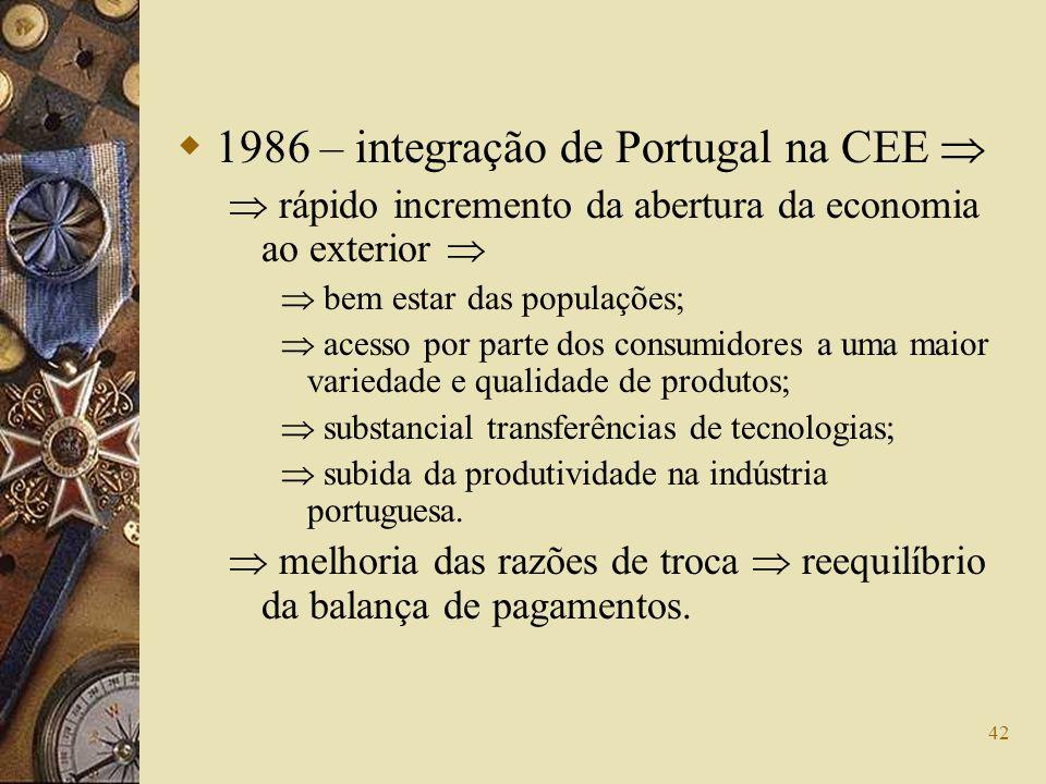 42 1986 – integração de Portugal na CEE rápido incremento da abertura da economia ao exterior bem estar das populações; acesso por parte dos consumido