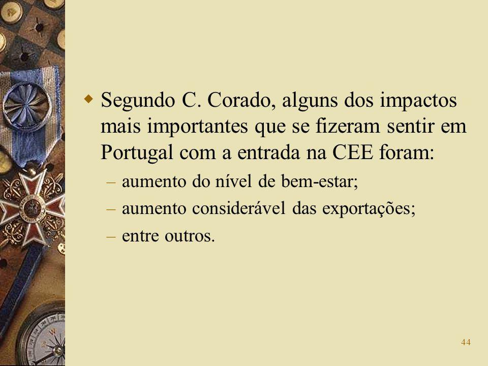 44 Segundo C. Corado, alguns dos impactos mais importantes que se fizeram sentir em Portugal com a entrada na CEE foram: – aumento do nível de bem-est