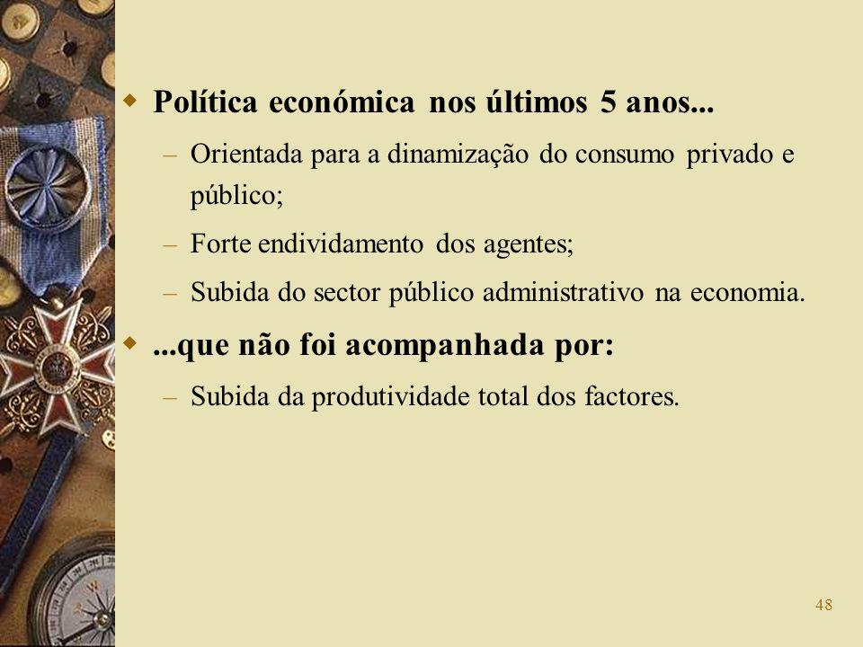 48 Política económica nos últimos 5 anos... – Orientada para a dinamização do consumo privado e público; – Forte endividamento dos agentes; – Subida d