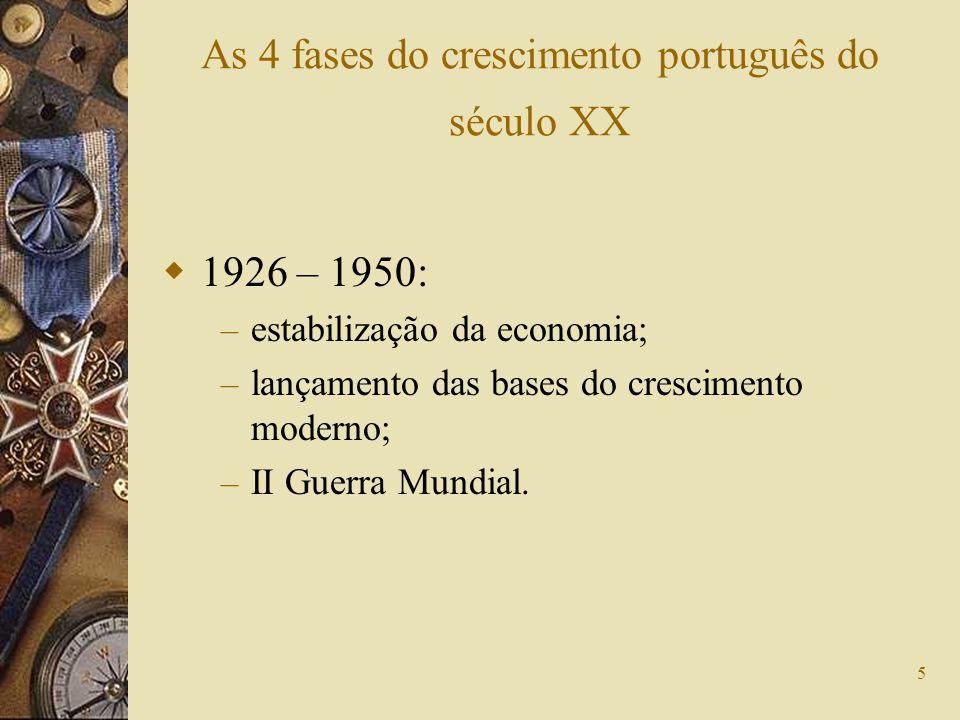 5 As 4 fases do crescimento português do século XX 1926 – 1950: – estabilização da economia; – lançamento das bases do crescimento moderno; – II Guerr
