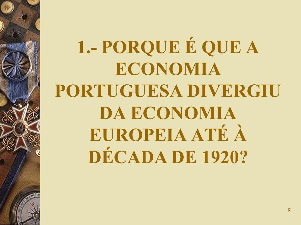 8 1.- PORQUE É QUE A ECONOMIA PORTUGUESA DIVERGIU DA ECONOMIA EUROPEIA ATÉ À DÉCADA DE 1920?