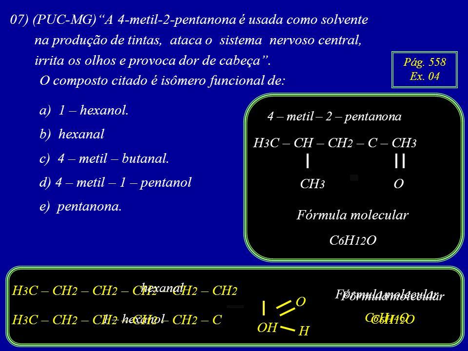 07) (PUC-MG)A 4-metil-2-pentanona é usada como solvente na produção de tintas, ataca o sistema nervoso central, irrita os olhos e provoca dor de cabeça.