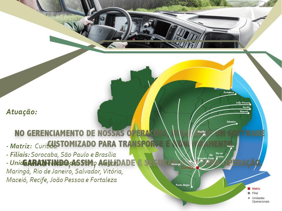 Atuação: - Matriz: Curitiba - Filiais: Sorocaba, São Paulo e Brasília - Unidades Operacionais: Porto Alegre, Maringá, Rio de Janeiro, Salvador, Vitóri