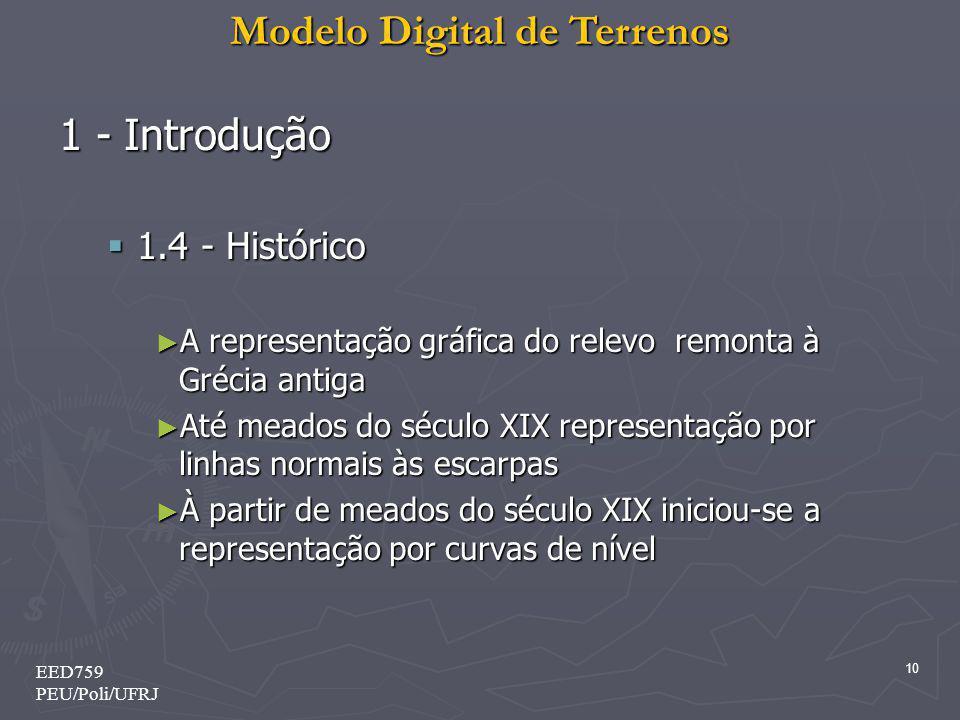 Modelo Digital de Terrenos 10 EED759 PEU/Poli/UFRJ 1 - Introdução 1.4 - Histórico 1.4 - Histórico A representação gráfica do relevo remonta à Grécia a