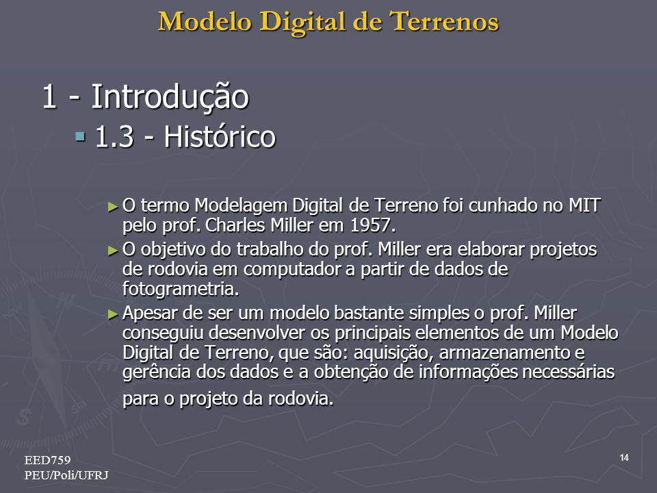 Modelo Digital de Terrenos 14 EED759 PEU/Poli/UFRJ 1 - Introdução 1.3 - Histórico 1.3 - Histórico O termo Modelagem Digital de Terreno foi cunhado no