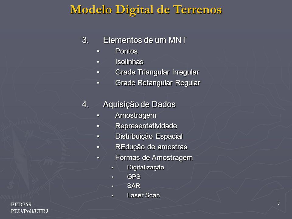 Modelo Digital de Terrenos 24 EED759 PEU/Poli/UFRJ 2 – Definições Básicas 2.5 - Tridimensionalidade Cada ponto do espaço é descrito pelo conjunto (tripla) (X,Y,Z) Cada ponto do espaço é descrito pelo conjunto (tripla) (X,Y,Z)