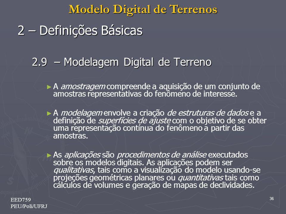 Modelo Digital de Terrenos 36 EED759 PEU/Poli/UFRJ 2 – Definições Básicas 2.9 – Modelagem Digital de Terreno A amostragem compreende a aquisição de um